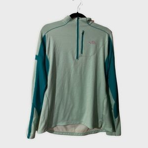 North Face Turquoise Half Zip Long Sleeve Jacket